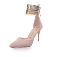 Women's Heels Club Shoes Fleece PU Spring Summer Casual Dress Party & Evening Club Shoes Zipper Stiletto Heel Black Blushing Pink3in-3