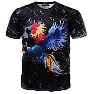 Masculino Camiseta Para Noite Formal Simples Activo Verão,Estampado Algodão Decote Redondo Manga Curta Média