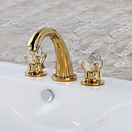 cheap Bathroom Sink Faucets-Bathroom Sink Faucet - Widespread Ti-PVD Widespread Two Handles Three Holes