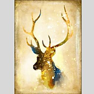 cheap Oil Paintings-Oil Painting Hand Painted - Animals Classic Modern Canvas
