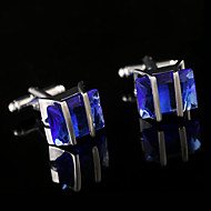 Fashion French Shirt Blue Crystal Cufflinks Mens Jewelry Unique Wedding Groom Men Gifts Semi Precious Stone French Cuffs Buttons