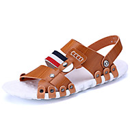 Men's Sandals Hole Shoes Light Soles Cowhide Leather Spring Summer Office & Career Casual Flat Heel Red Brown Black Flat