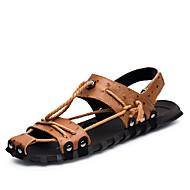 Masculino Sandálias Conforto Solados com Luzes Pele Verão Outono Casual Conforto Solados com Luzes Rasteiro Preto Marron Rasteiro