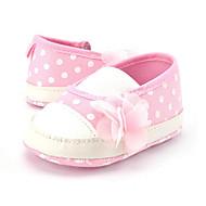 Çocuk Mokasen & Bağcıksız Ayakkabılar Fitilli Kumaş Yaz Sonbahar Bağcıklı Puantiyeli Düz Topuk Pembe Düz