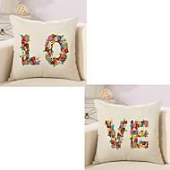 tanie Zestawy poduszki-2 szt Cotton / Linen Poszewka na poduszkę Pokrywa Pillow, Litera Modny Słowa i cytaty Euro Tradycyjny / Classic Retro