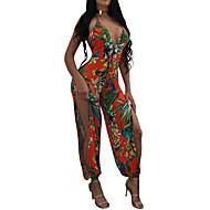 Žene Plaža Jumpsuits - Otvorena leđa S izrezom Cvijetan, Cvijet Duboki V Visoki struk