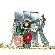 cheap Bags-Women Bags PU leatherette Mobile Phone Bag Rhinestone Appliques Satin Flower Sparkling Glitter Pearl Detailing Bead Floral Pattern Chain