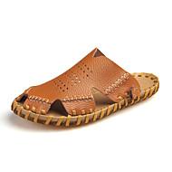 זול -בגדי ריקוד גברים נעליים עור עור נאפה Leather קיץ סתיו נוחות סנדלים ל קזו'אל בָּחוּץ לבן שחור חום