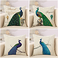 Set Of 4 Beautiful Peacock Printing Pillow Cover 45*45Cm Cotton/Linen Pillow Case Sofa Cushion Cover