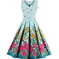 Dame Vintage Bomull Swing Kjole - Blomstret V-hals Knelang