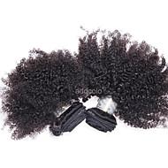 Echthaar Brasilianisches Haar Menschenhaar spinnt Kinky Curly Afro-Frisur Ringellocken Haarverlängerungen 1 Stück Schwarz