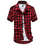 Klassisk krave Herre - Ruder Bomuld Kineseri Skjorte / Kortærmet