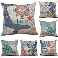 6 kom Posteljina Jastučnica Navlaka za jastuk, Jednobojni Geometrijski oblici S teksturom Plaža i more Jastuk Tradicionalni / klasični
