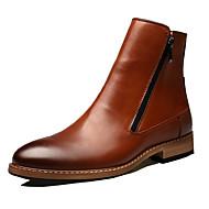 baratos Sapatos Masculinos-Homens Sapatas de novidade Couro Outono / Inverno Conforto Botas Caminhada Preto / Marron / Festas & Noite
