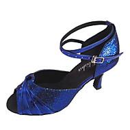 baratos Sapatilhas de Dança-Mulheres Sapatos de Dança Latina Glitter Sandália Salto Personalizado Personalizável Sapatos de Dança Azul marinho / Amêndoa / Vermelho-Preto / Interior