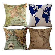 Set Of 4 Classic World Map Pattern Pillow Cover Creative Sofa Cushion Cover Home Decor Pillow Case