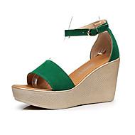 baratos Sapatos Femininos-Mulheres Sapatos Camurça Verão Sandálias Salto Plataforma Peep Toe Preto / Vermelho / Verde / Sapatos clube