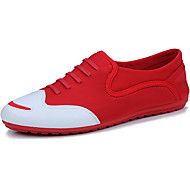 cheap Men's Shoes-Men's Shoes Fabric Summer Moccasin Oxfords Walking Shoes Lace-up for Outdoor Black Red