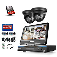 cheap -Sannce® 4CH DVR Kits Surveillance Security System with 2 720P Dome Camera with 1TB HDD