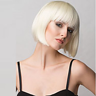 Naisten Synteettiset peruukit Suojuksettomat Keskikokoinen Suora Vaaleahiuksisuus Bob-leikkaus Otsatukalla Luonnollinen peruukki