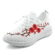 Feminino Tênis Conforto Tule Primavera Verão Casual Caminhada Conforto Cadarço Flor Rasteiro Branco Preto 2,5 a 4,5 cm