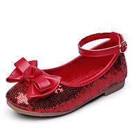 Para Meninas Rasos Courino Primavera Outono Laço Velcro Salto Baixo Vermelho Azul Rasteiro