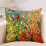 1 Pcs Colorful Tree Of Life Birds Pillow Cover Square Sofa Cushion Cover Cotton/Linen Pillow Case