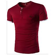 T-shirt Męskie Bawełna Sport Okrągły dekolt Solidne kolory / Kolorowy blok Ciemnoszary L / Krótki rękaw