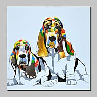 billiga Djurporträttmålningar-Hang målad oljemålning HANDMÅLAD - Djur Abstrakt Modernt Modernt Inkludera innerram / Sträckt kanfas