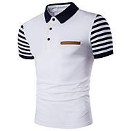 남성용 줄무늬 셔츠 카라 슬림 플러스 사이즈 Polo, 활동적 면 화이트 XXXL / 짧은 소매 / 여름