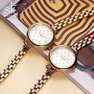 billige Quartz-SK Dame Quartz Armbåndsur Kinesisk Vandafvisende Chok Resistent Metal Bånd Vedhæng Luksus Vintage Kreativ Afslappet Mode Stribet Hvid