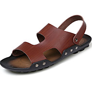 Men's Sandals Gladiator PU Spring Summer Casual Buckle Flat Heel Camel Brown Black White Flat