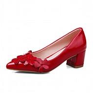 Feminino Sapatos Couro Envernizado Primavera Outono Conforto Inovador Saltos Caminhada Salto Grosso Dedo Apontado Apliques Para Social
