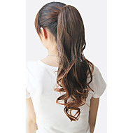 22 inch Black Dark Brown Curly Ponytails Synthetic Hair Piece Hair Extension