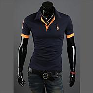 Bărbați Guler Cămașă Polo Casul/Zilnic Plus Size Simplu(ă),Mată Bloc Culoare Modă Manșon scurt Vară-Mediu Bumbac