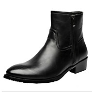 Men's Boots Comfort Novelty Leather Fall Winter Casual Walking Comfort Novelty Zipper Flat Heel Black Flat