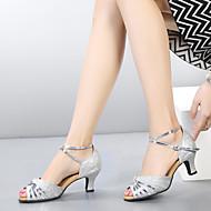 baratos Sapatilhas de Dança-Mulheres Sapatos de Dança Latina Glitter / Paetês / Sintético Sandália / Salto Gliter com Brilho / Presilha / Fru-Fru Salto Cubano Sapatos de Dança Camel / Prateado / Preto / Vermelho / Interior