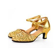 Dame Moderne Glimtende Glitter Paljett Fløyel Sandaler Høye hæler Joggesko Innendørs Spenne Glimtende Glitter Fargeblokk Strå Kubansk hæl