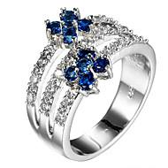 女性用 指輪石座 指輪 バンドリング キュービックジルコニア ラインストーン オリジナル フローラル ぜいたく ユニーク クラシック ラインストーン ベーシック ブリティッシュ アメリカ 映画ジュエリー Elegant 欧米の かわいいスタイル ファッション 愛らしいです
