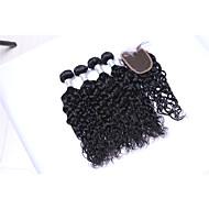 Gerçek Saç Düz Brezilya Saçı İnsan saç örgüleri Doğal Dalgalar Saç uzatma 5 Parça Siyah