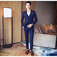 Pánské Jednobarevné Běžné/Denní Jednoduchý Oblek-Celý rok Polyester Košilový límec Dlouhý rukáv Standardní