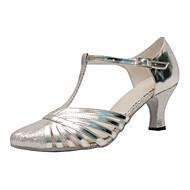 Mulheres Sapatos de Dança Moderna Courino / Seda Sandália / Têni Profissional Presilha Salto Agulha Personalizável Sapatos de Dança Prata