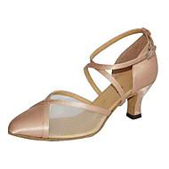 Damă Modern Mătase Sandale Performanță Cataramă Toc Cubanez Negru Migdală 6cm Personalizabili