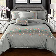 Embroidery 4 Piece Cotton Cotton 1pc Duvet Cover 2pcs Shams 1pc Flat Sheet