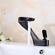 Nykyaikainen Kolmiosainen Laajallle ulottuva with  Keraaminen venttiili Yksi kahva yksi reikä for  Öljytty pronssi , Kylpyhuone Sink hana