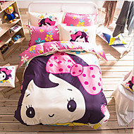 Painting 3 Piece Cotton Cloth Machine Made Cotton Cloth 1pc Duvet Cover 1pc Sham 1pc Flat Sheet