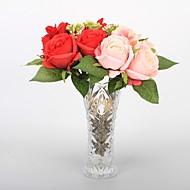 5 Gren Plastikk PU Ekte Touch Roser Bordblomst Kunstige blomster