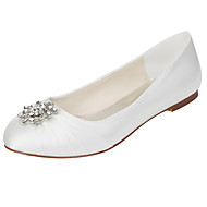cheap Women's Flats-Women's Shoes Stretch Satin Spring / Fall Light Soles Flats Flat Heel Round Toe Crystal Ivory / Wedding / Party & Evening