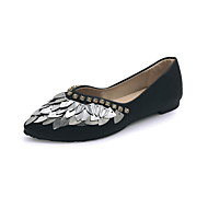 Dámské Bez podpatku Společenské boty PU Podzim Ležérní Šaty Chůze Společenské boty Flitry Plochá podrážka Bílá Černá Méně než 2.5 cm
