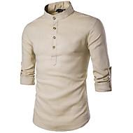 Majica Muškarci Rad Ležerno / za svaki dan Pamuk Lan Jednobojni Karirani uzorak Ruska kragna